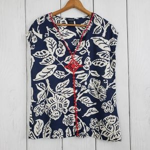 LUCKY BRAND sz S Navy White Red Embroidered Blouse